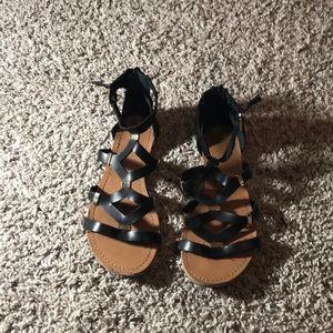 Forever 21 black and gold cage gladiator sandals